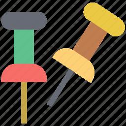 drawing pin, map pin, paper pin, pushpin, stationery icon