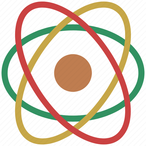 atom, atomic nucleus, education, electrons, physics, science icon
