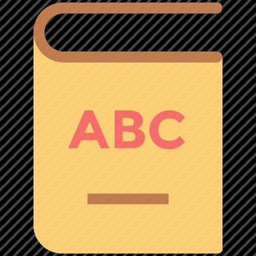 abc, alphabets, book, education, english book, reading, study icon