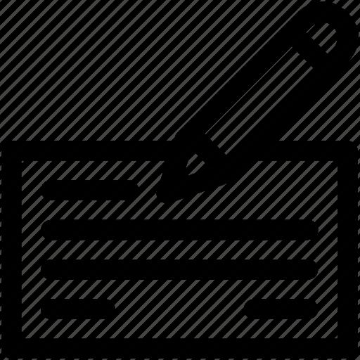 bill, cheque, receipt, signature, voucher icon