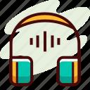 audiobook, headpohne, learning icon