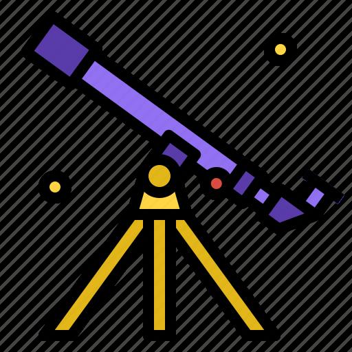 astronomy, galaxy, star, telescope icon