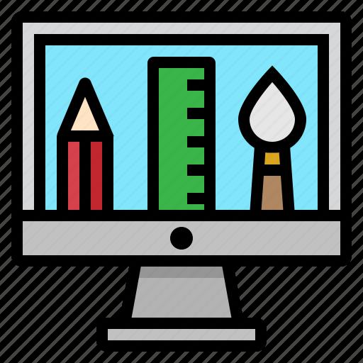 computer, education, pencil, ruler, school icon