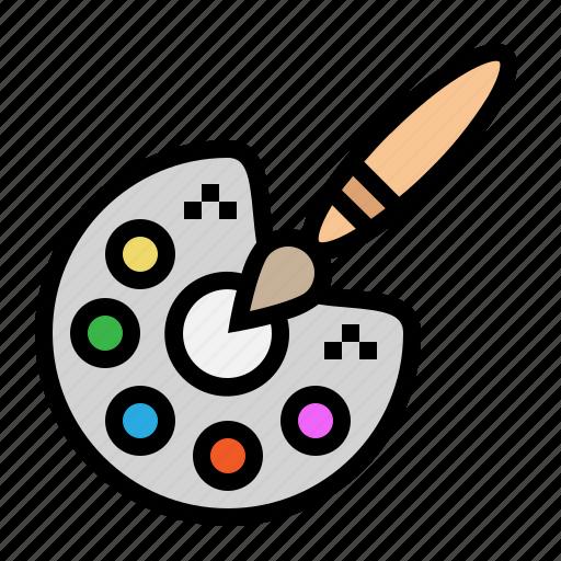 art, color, paint, paintbrush, palette icon