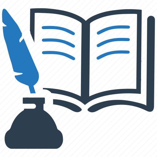 education, feather, library, literature, reading, school book, study icon