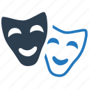 theater, entertainment, mask, sad, drama, comedy, happy icon