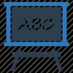 alphabet, blackboard, education, knowledge, learning, school, study icon