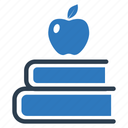 apple, education, library, literature, reading, school book, study icon