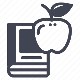 apple, book, education, learning, reading, school icon