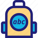 abc, accessory, back, carry, elementary, pack icon