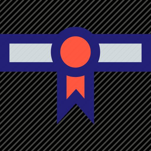 award, diploma, graduate, ribbon icon