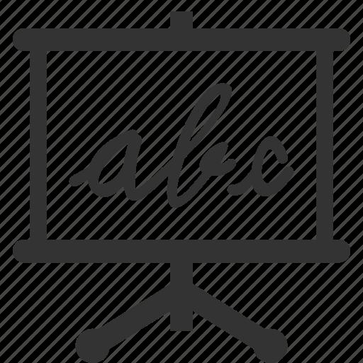 alphabet, blackboard, education, learn, presentation icon