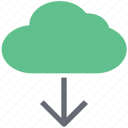 cloud, computing cloud, down arrow, downloading cloud, storage cloud icon