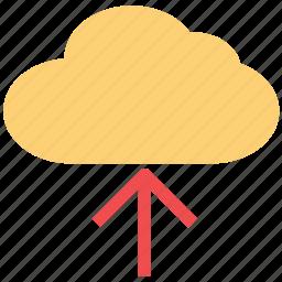 cloud, computing cloud, storage cloud, up arrow, uploading cloud icon