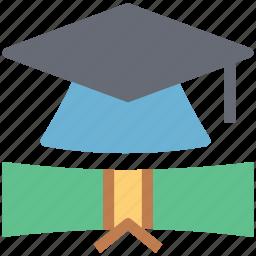 degree, diploma, graduation, graduation cap, mortarboard icon
