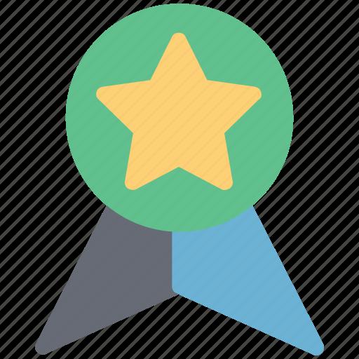 award badge, champion, prize, reward, ribbon badge, star badge, winner icon