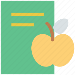 apple, book, diet chart, diet plan, healthy diet, healthy eating icon