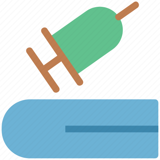 book, medical book, medical handbook, research book, syringe icon