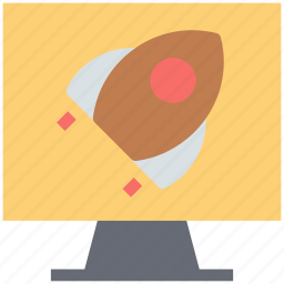 lcd, monitor, monitor screen, rocket, space rocket, space study icon
