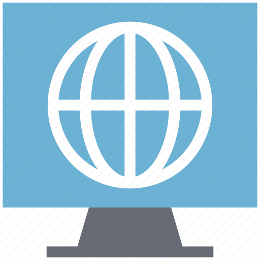 globe, international broadcasting, internet connected, lcd, monitor screen icon
