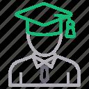 bachelor, degree, diploma, graduation, student icon