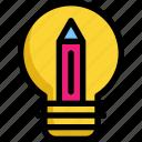 bulb, education, lamp, light, pencil, school, study