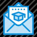 cap, education, graduation, mail