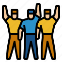 group, research, team, up, work icon