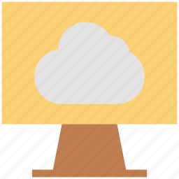 cloud, computing could, lcd, monitor, storage cloud, weather forecasting, weather programme icon