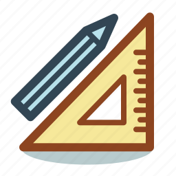 and, drafting, geometry, maths, pencil, ruler, stationary icon