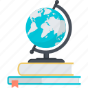 book, education, explore, flat design, globe, learning icon