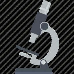 education, flat design, laboratory, microscope, research, science icon