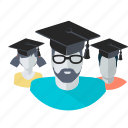 avatar, education, flat design, graduate, people, students, team icon