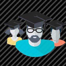 avatar, education, flat design, graduate, people, students, team icon