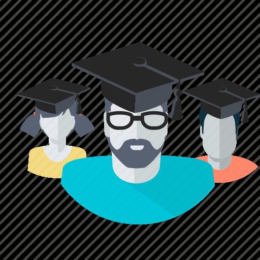 avatar, education, graduate, people, students, team icon