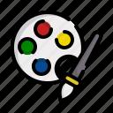paint, color, artistic, palette, arts, brush icon