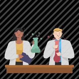 chemistry, experiment, lab, laboratory, woman, man, test, tubes