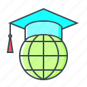 e-learning, education, global, international, online, online education icon