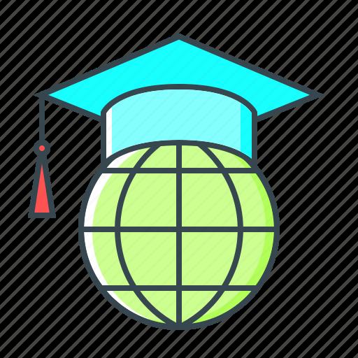 e-learning, education, global, international, online, online education icon