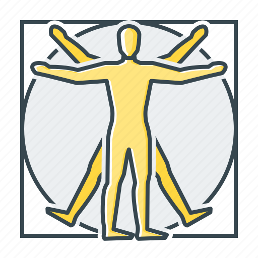 anatomy, da vinci, philosophy, science, vitruvian man icon