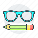 glasses, learn, learning, pencil, study icon