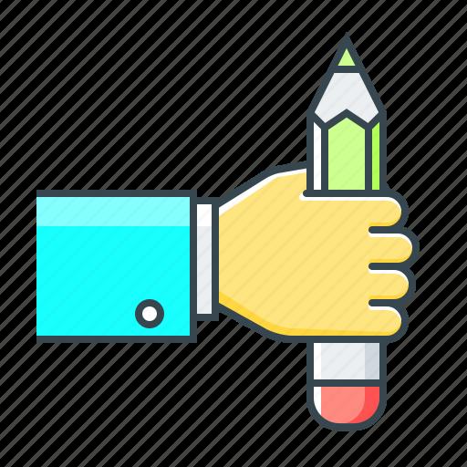 back, back to school, education, hand, pencil, school icon