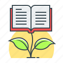 book, education, growth, knowledge, knowledge growth icon