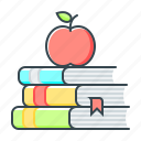 apple, books, education, knowledges, reading icon