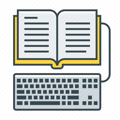 book, ebook, keyboard, library, online icon