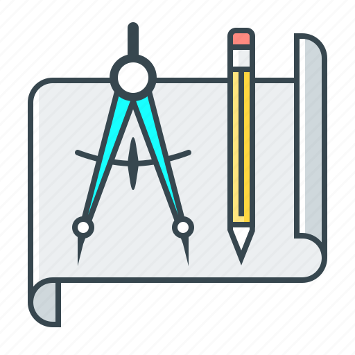 dividers, drawing, education, pencil, project icon