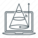 drawing, geometry, laptop, shape, theorem, triangle, trigonometry icon