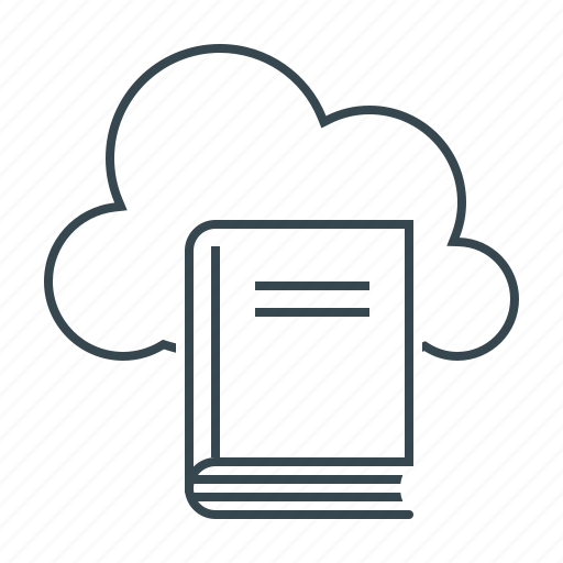 book, cloud, library, literatura, online, online library icon