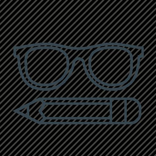 education, glasses, pencil, study icon