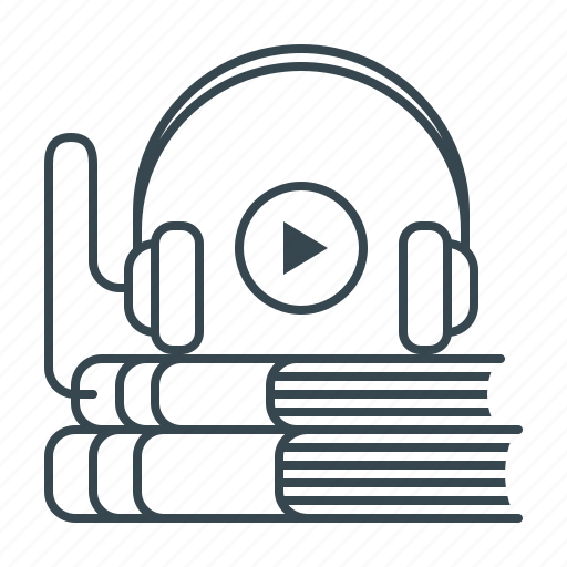 audio, audio book, book, education, headphones, multimedia, play icon